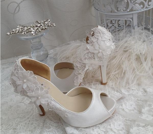 High Heel Peep Toe Wedding Dress Shoes Bridal Shoes Bridesmaid Shoes  Party Banquet Shoe White Color Formal Shoes Size 34-40