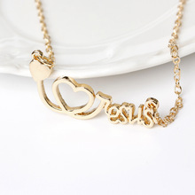 English alphabet Heartbeat Doctor Hollow love Heart Stethoscope Cardiogram Pendant Necklace lucky letter jesus necklace Jewelry