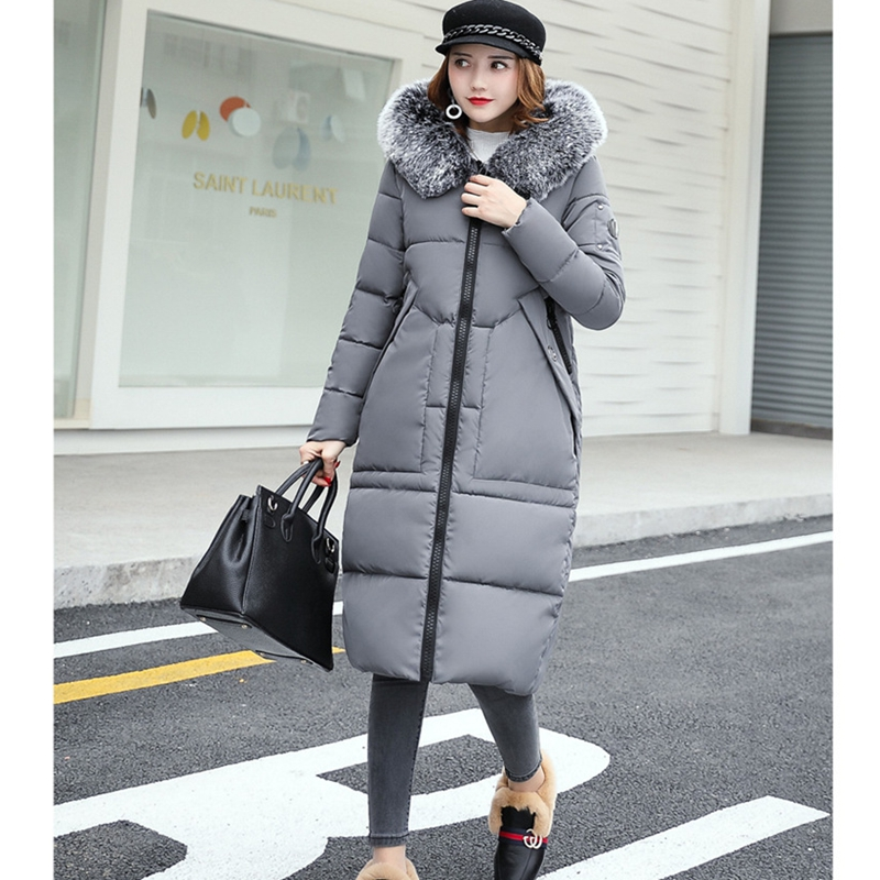 2017 NEW LARGE FUR COLLAR HOODED WOMEN WINTER JACKET MID LENGTH COAT PLUS SIZE THICKEN WARM FEMALE PARKAS COTTON WADDING ZL356 2017 winter oversize fashion plus size women coat large fur collar hooded outerwear warm down jacket female cotton parkas yp0534