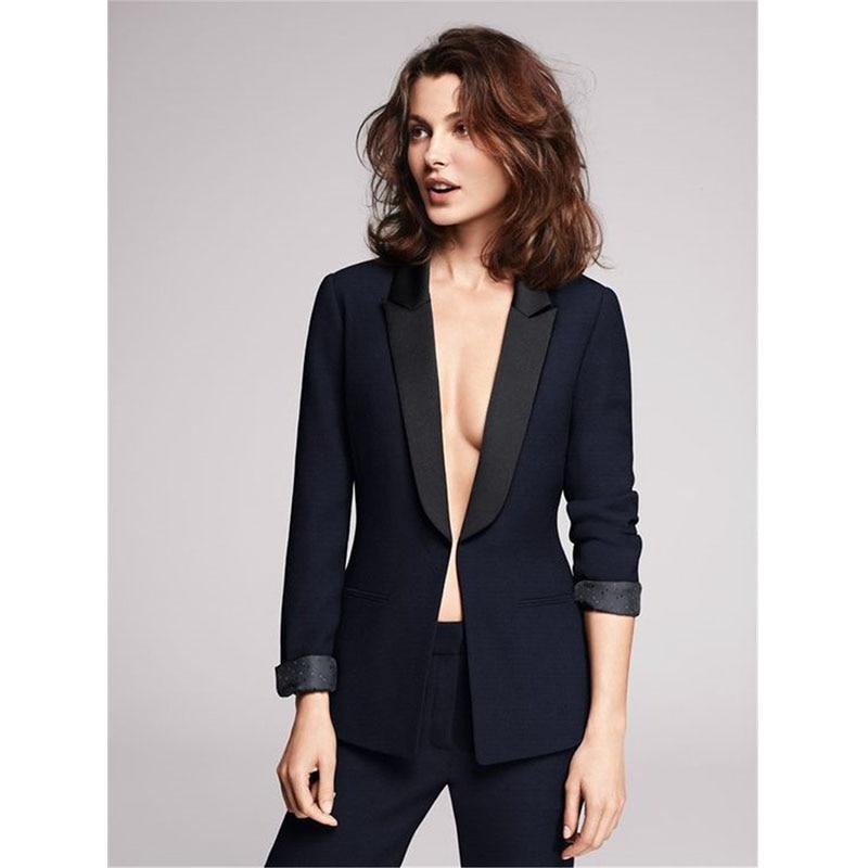 New Arrived Women Suit 2018 Fashion Slim Business Office OL Navy Jacket Pants Suit Set Formal Blazer Female Trouser Suits