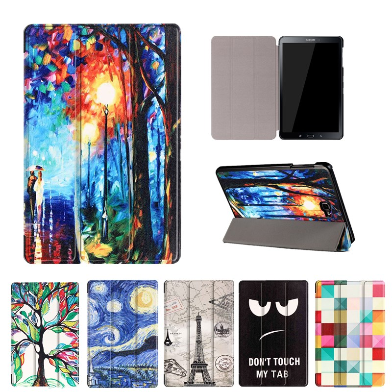 3D Print Leather Case For Samsung Galaxy Tab A A6 10.1 P580 P585 Tablet Smart Folding Stand Protective Tablet Cover