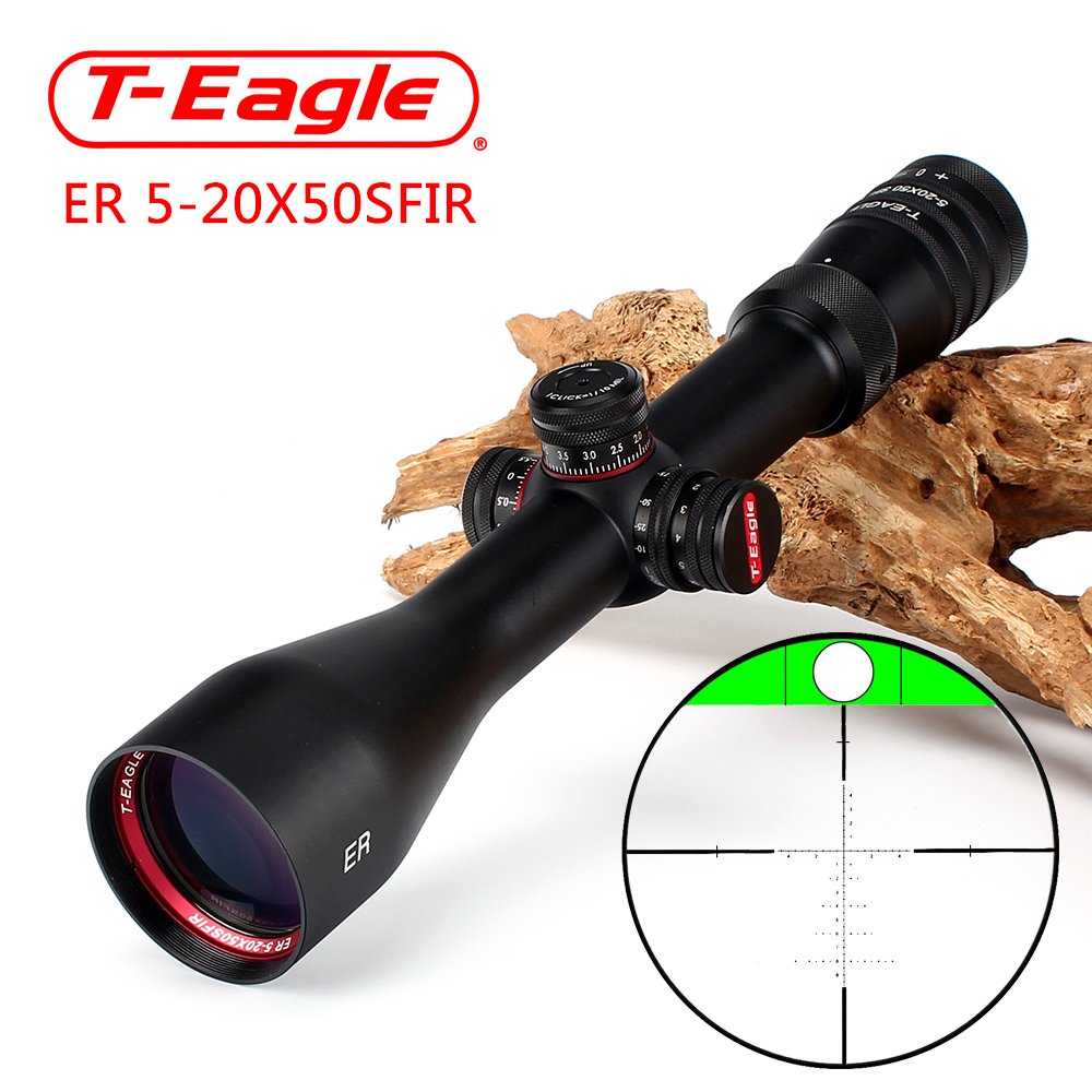 T-Eagle ER 5-20X50 SFIR Hunting Riflescope Side Parallax Glass Etched Reticle Turrets Lock Reset Built-in Bubb Level Rifle Scope