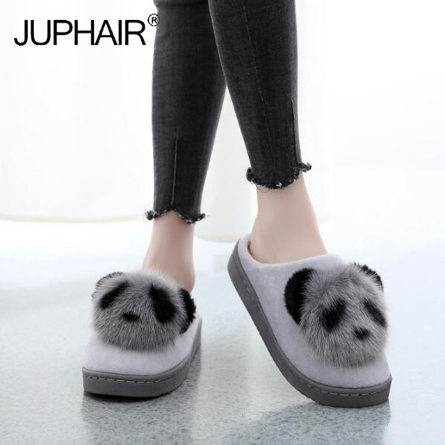 1d7c7b74a Women's Winter Home Slippers Cartoon Lucky Panda Shoes Non-slip Soft Winter  Warm House Slippers Indoor Bedroom Lover Floor Shoes
