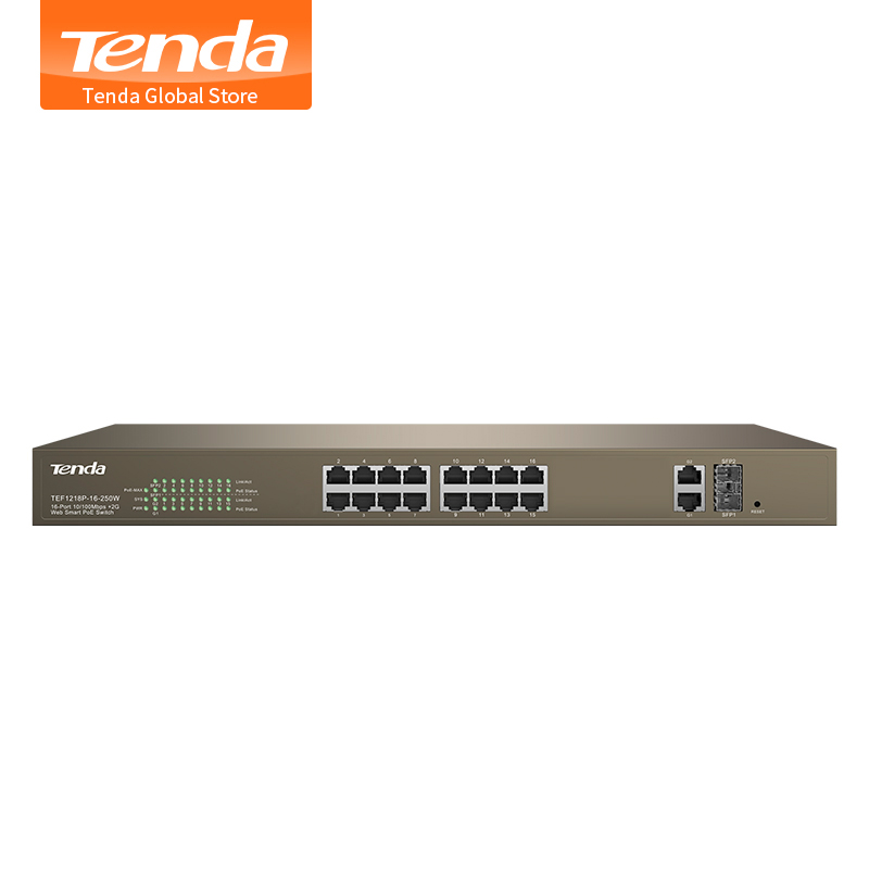 Tenda TEF1218P 16 250W 16 Port 10 100Mbps with 2 Gigabit Web Smart PoE Switch Long
