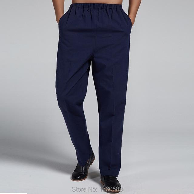 Темно-синий традиционный китайский стиль мужская 100% чистого хлопка кунг-фу брюки боевых искусств брюки размер ml XL XXL XXXL X509