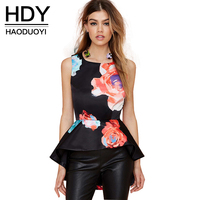 Elegant Flower Print Tank Slim Tank Ruffles Women Tank For Wholesale And Free Shipping Haoduoyi