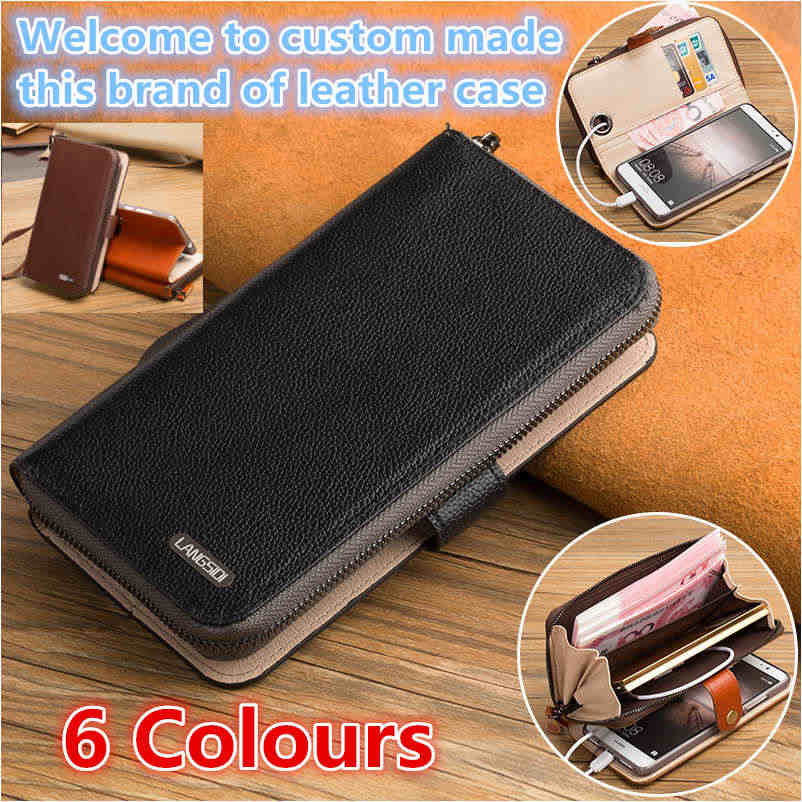 QH08 Hakiki deri flip case ile kartlıklı cüzdan Huawei P Akıllı telefon kılıfı Huawei Enjoy 7 S için telefon çantası
