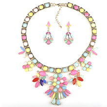 2016  New choker necklace +dangle earrings alloy chain statement necklace colar feminine rhinestone maxi necklace jewelry sets