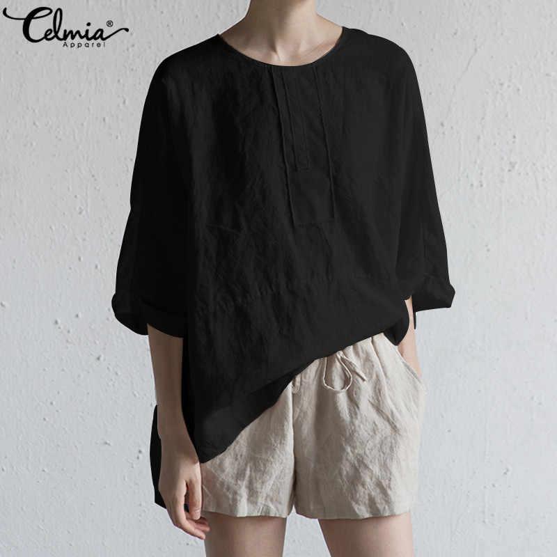 ef76462afbe ... Celmia Vintage Women Cotton Linen Blouse Summer Tunic Top Loose Bat  Sleeve Shirt Split Buttons Casual ...