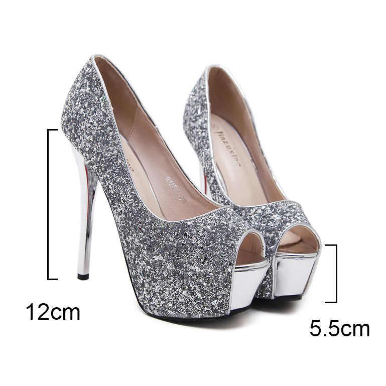 419b1da84 ... Sexy pumps women shoes 2019 high heel peep toe platform high heels  wedding shoes woman silver