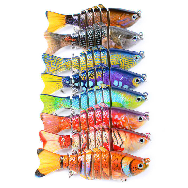 8pcs 10cm/16g Multi Jointed Bionic Fishing Baits Lures Painted Colorful 4 Pike Muskie Crank Minow Bait Swimbait Lure Artificial