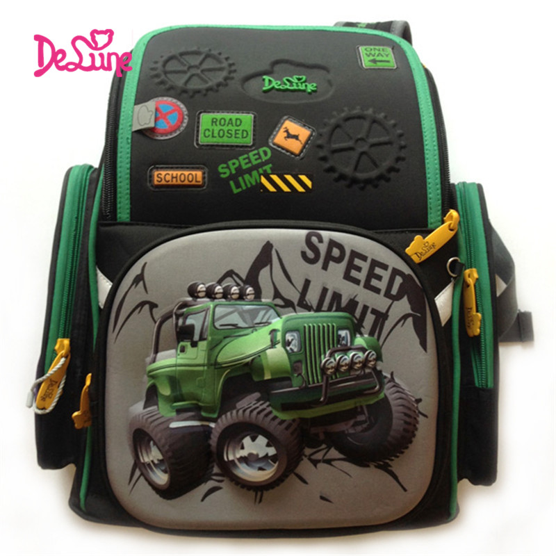 Delune Children Burden Reducing Primary School Bag 3D SUV Car Print Orthopedic SCHOOL School Backpack Mochila Escolar for Boys