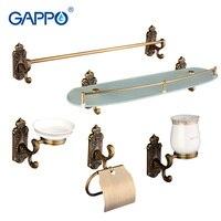 Gappo 5PC Set Bathroom Accessories Towel Bar Soap Dish Toothbrush Holder Toilet Paper Holder Glass Shelf