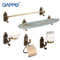 Gappo 5PC Set Bathroom Accessories Towel Bar Soap Dish Toothbrush Holder Toilet Paper Holder Glass Shelf