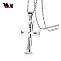 Vnox Mens Stainless Steel Cross Pendant Necklace Stylish WIA Necklaces For Male Boy Free Chain 24