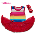 Colorful Striped Baby Girl Tutu Dress Cotton Sleeveless Bodysuit with Ruffle + Headband 2 Pcs Rainbow Toddler Party Dress  Yi