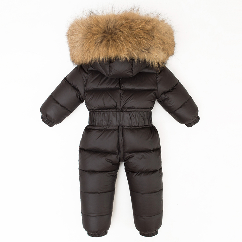 -30 Winter Large Fur Hoodie Romper Baby Snowsuit Infant Overcoat Girl Jumpsuit Boy Duck Down Coat Kids Overall Snow Wear Clothes 0 2 years infant baby winter coat snowsuit duck down jumpsuit bodysuit suit toddler boy girls clothes winter kids romper 1820