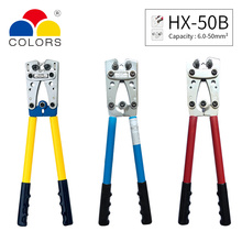 HX-50B Wire Terminal Crimping Tool Cable Lug Crimper Hand Cu/Al Terminal Ratchet Electrician Plier AWG1-10 hx 50b non welding crimping with standard electical connection crimping plier crimper capacity 6 5 50 square mm