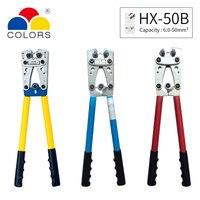 HX 50B drutu narzędzie do zaciskania terminali końcówka kablowa Crimper rąk Cu/Al terminali zapadkowy elektryk szczypce AWG1 10 w Kombinerki od Narzędzia na