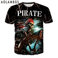 Mens 3D T Shirt Movie Pirates Of The Caribbean Jack Sparrow Printed Skull Tshirts Fashion Casual Short Sleeve Tops Tee Homme