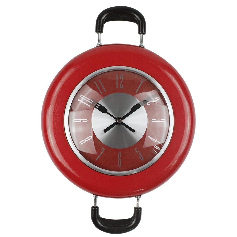 2017 New Decorative Kitchen Wall Clock Metal Frying Pan