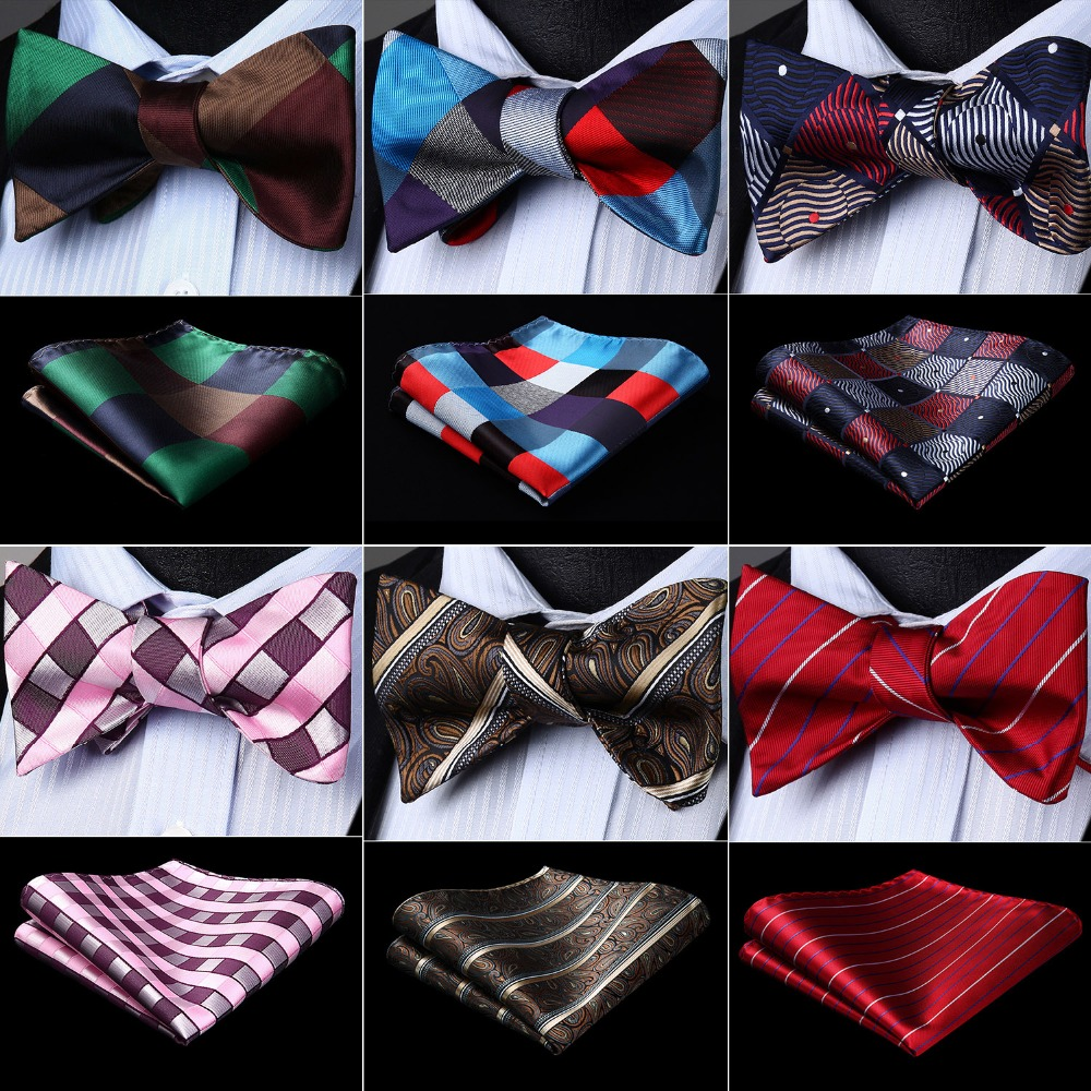 Men Check Plaid 100% Silk Bow Ties Jacquard Woven Men Butterfly Self Bow Tie BowTie Pocket Square Handkerchief Hanky Suit Set
