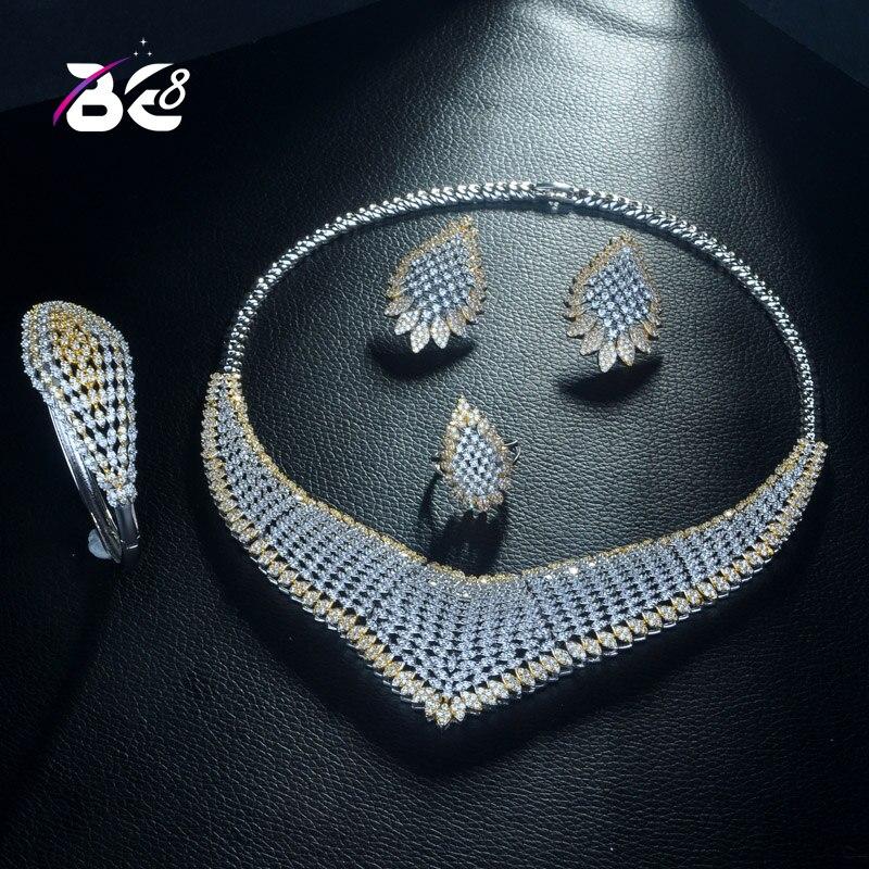 Be 8 ensemble de bijoux de mariée Design géométrique de luxe 2 tons AAA cubique zircone mode nigérian accessoire de bijoux pour les femmes S310