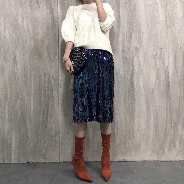 9efe09a1b35c High Fashion Rainbow Twinkling Sequin Skirt Knee Length Midi Street Style  Skirt Personalized Skirts Women 2018 Hot Modest Saia