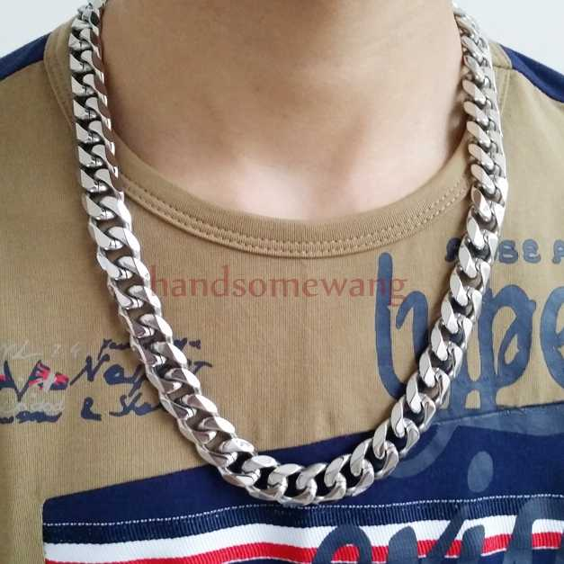 "316L Stainless Steel 15mm Heavy Silver Curb Mens Cuban Chain Necklace jewelry 8""-36"""