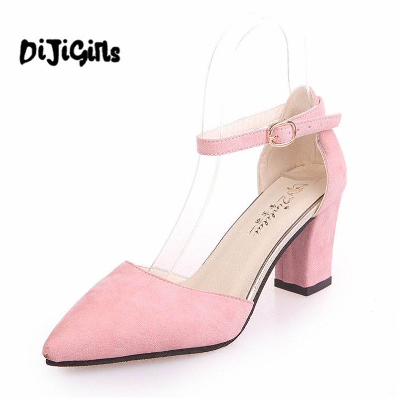 spring Zapatos Mujer chunky high heels office ladies pointed toe pumps women shoes woman party ankle strap sandals