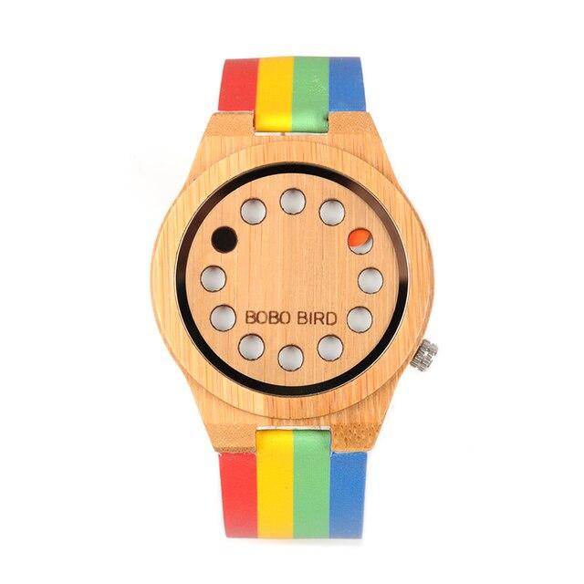 BOBO BIRD  Bamboo Men Women Watch Colorful Leather Band 12 Holes Dial Face Classic Wood Watches for Men Women Accept Logo W-A01 Women Quartz Watches