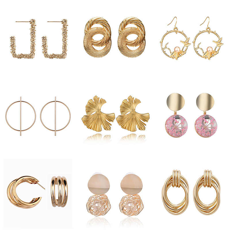 Fashion Statement Earrings 2019 Big Geometric Earrings For Women Golden Color Personality Stud Earrings Modern Jewelry brincos