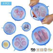 6 шт., герметичные кухонные многоразовые контейнеры для хранения еды с силиконовыми тянущимися крышками, различные размеры, плотно закрывающаяся миска, кухонная посуда с плотными тянущимися крышками