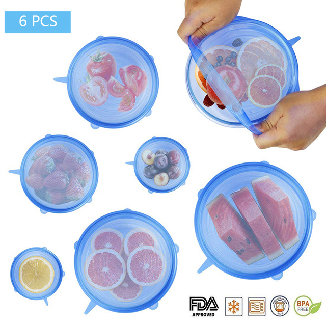 6 Pcs סיליקון למתוח מכסים לשימוש חוזר אטום מזון לעטוף מכסה שמירה טרי חותם קערת נמתח גלישת כיסוי מטבח כלי בישול