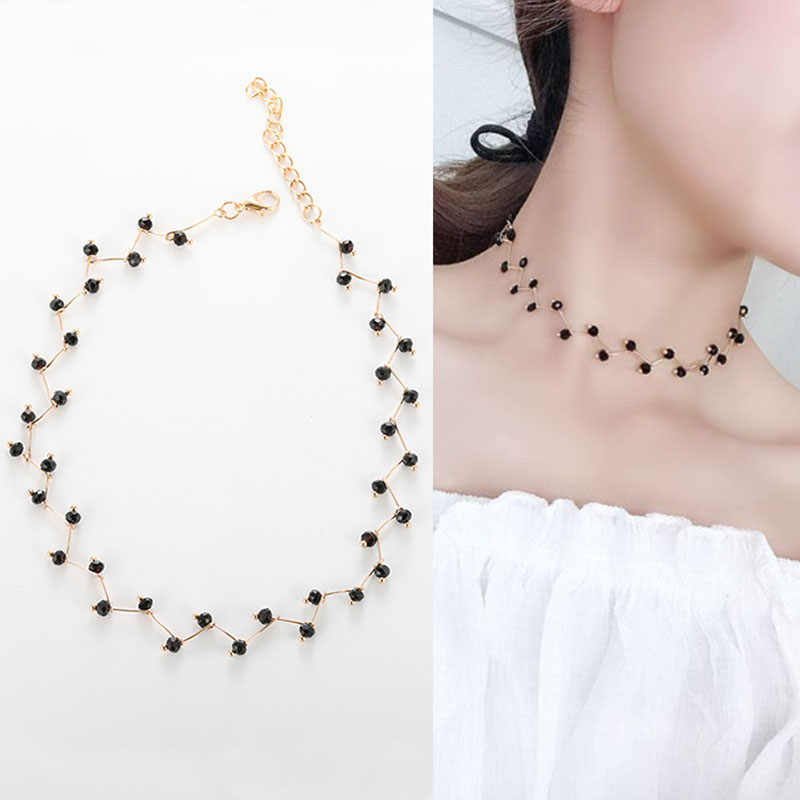 2019 Fashion black crystal short Necklace Women Jewelery Pendant Women's Layered Crystal Necklaces Charm Chain choker D1235
