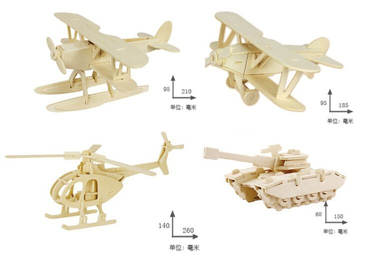 4PCS/Set Military Wooden 3D Puzzle Aircraft Tank Model Building Kits Kids Educational Toy Gift for Children qiyun 3 d wooden puzzle children and adult s educational building blocks puzzle toy pig model