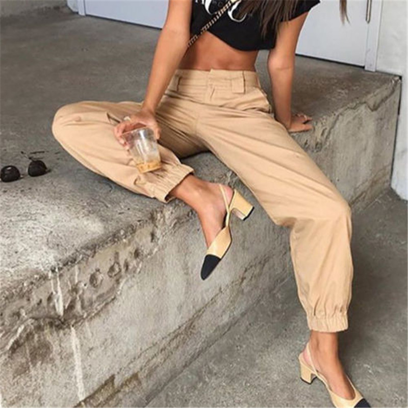 Women's Cool Cargo   Pants   Trousers Pockets Casual High Waist Zipper   Pants   Solid Punk Loose Long Sports   Pants     Capris   Fashion New
