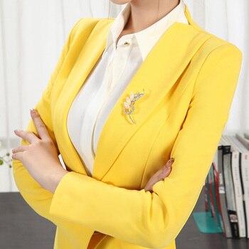 Black Plus Size Blazer | Spring Yellow Blue Black Skirt Suits Women Long Sleeve Slim Formal One Button Blazer Jacket With Skirt Plus Size Female Suits