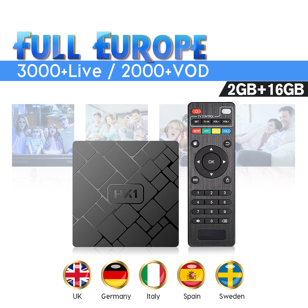 Android HK1W IPTV France Media Player with 1 Year IUDTV Code 2G 16G IPTV Arabic Spain Holland Belgium IPTV Subscription box(China)