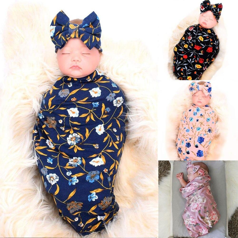 US 2Pcs Cute Newborn Baby Cute Swaddle Blanket Sleeping Swaddle Muslin Wrap+Hat