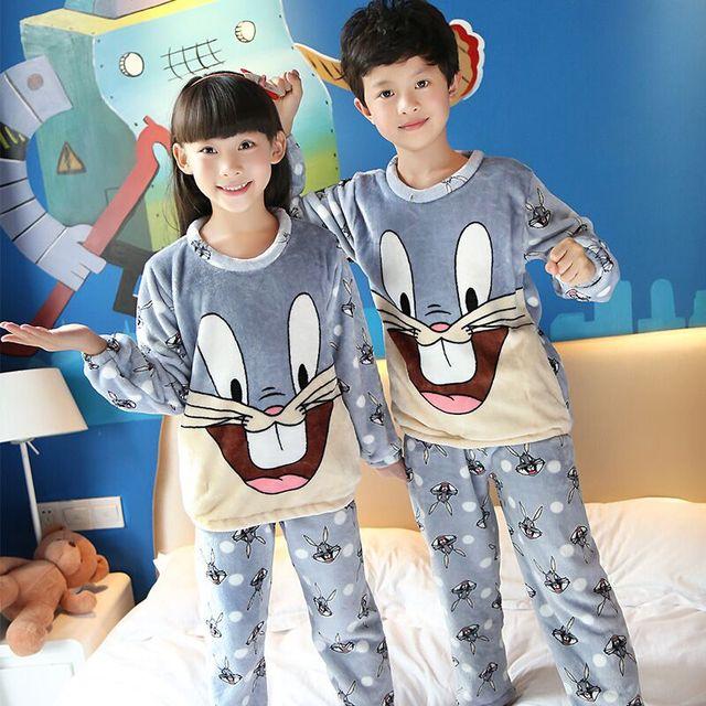 Winter Kids Flannel pajamas set Children Warm Coral Fleece Nighties Cartoon  Sleepwear Girls long sleeved Lounge Homewear HJ012 5037d416e