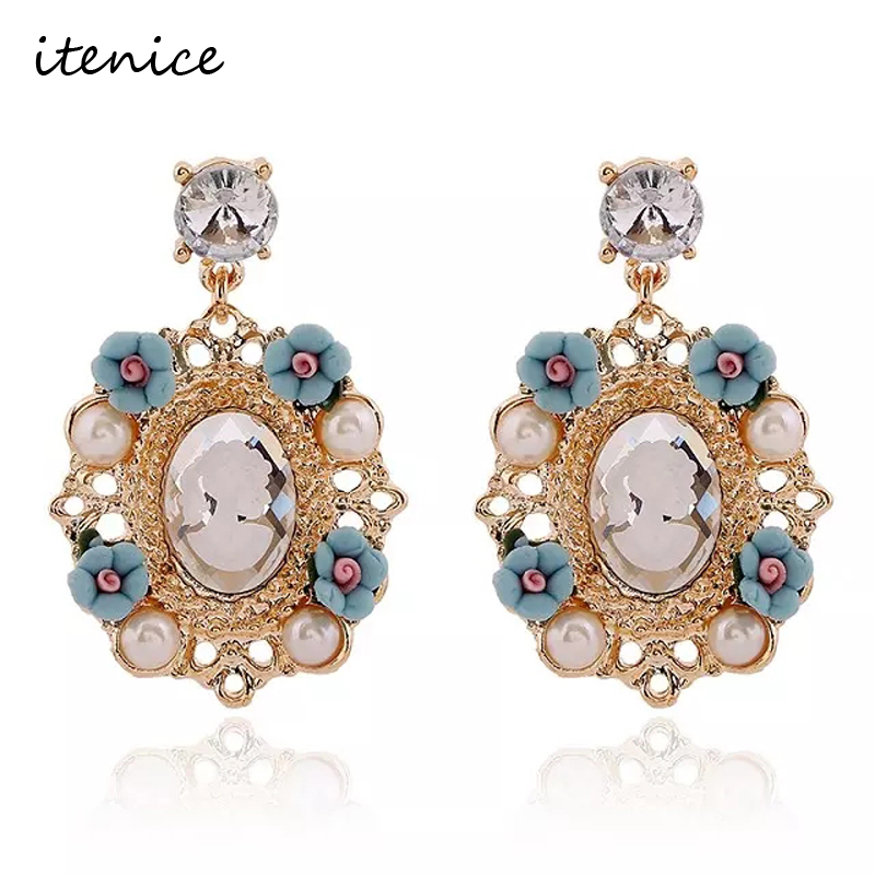 106a28e831 New Arrived Party Vintage Jewelry Baroque Fashion Round Flower Dangle  Earrings Charm Queen Austrian Full Crystals
