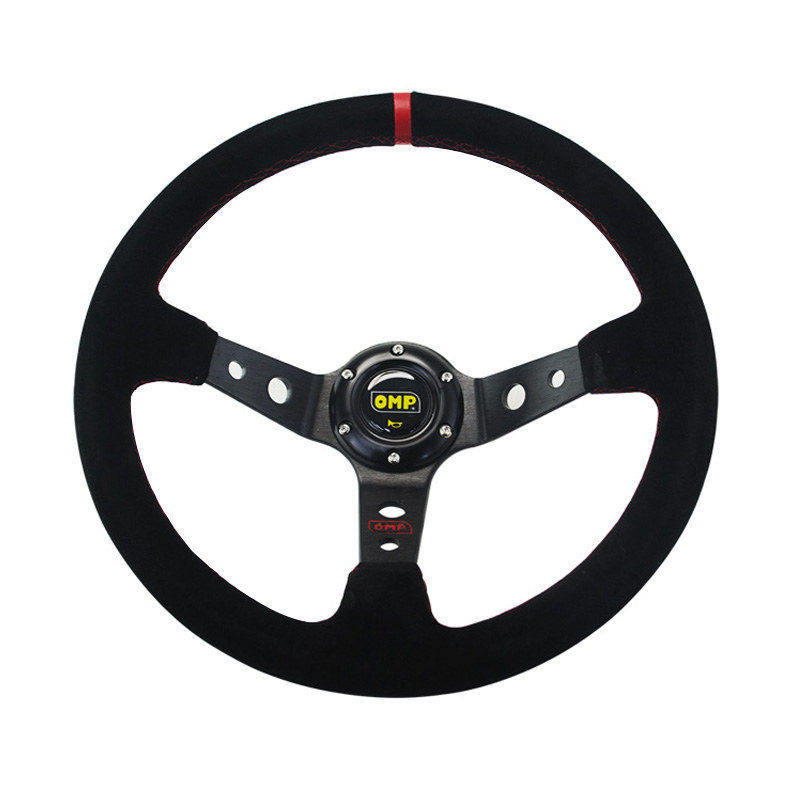Image 2 - 14inch 350mm OMP Deep Corn Drifting Suede Leather Steering Wheel / Universal Car Auto Racing Steering wheels 3/Colors PQY SW21-in Steering Wheels & Steering Wheel Hubs from Automobiles & Motorcycles