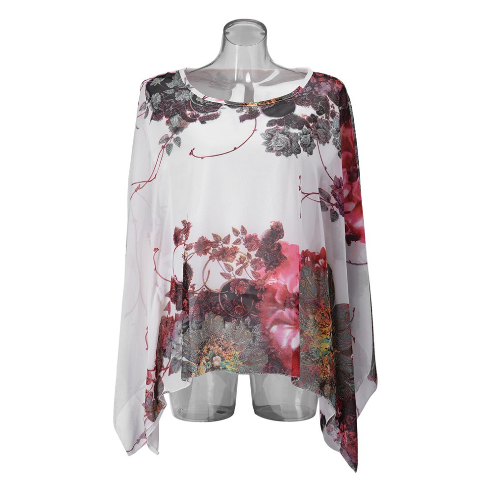 Summer Casual Women Chiffon cloth Bat Sleeve Tshirts O-Neck Slim Print Flower Chiffon Tops Lady Loose Shirt Tops Women Clothing