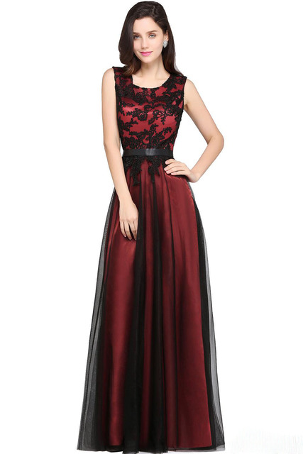 9b4f67af21d TPSAADE Hot Sale Burgundy Simple Prom Dresses 2019 Cheapest Sleeveless A  Line Black Appliqued Floor Length Evening Gowns