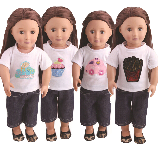 18-inch girl Doll White Shirt   Jeans Pants set for 18 Alexander Baby Doll play toys baby girl gifts