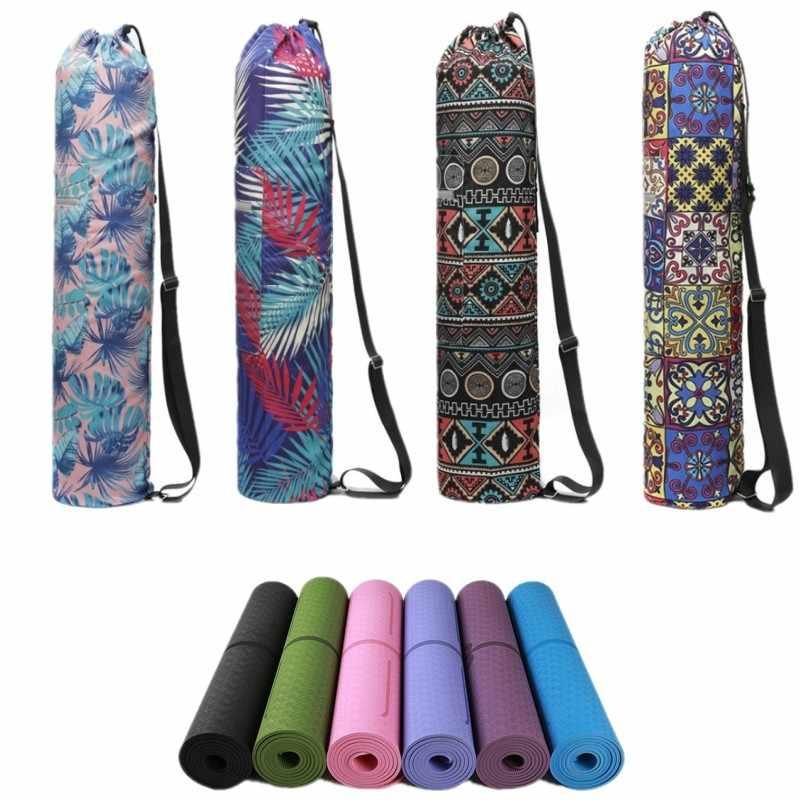 a15acae360a 75*16cm Practical Canvas Yoga Pilates Mat Carry Strap Drawstring Bag Sport  Exercise Gym Fitness