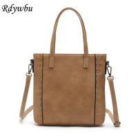 Rdywbu New Fashion Woven Tote Handbag Women S PU Leather Weave Shoulder Bag Vintage Desinger Knitting