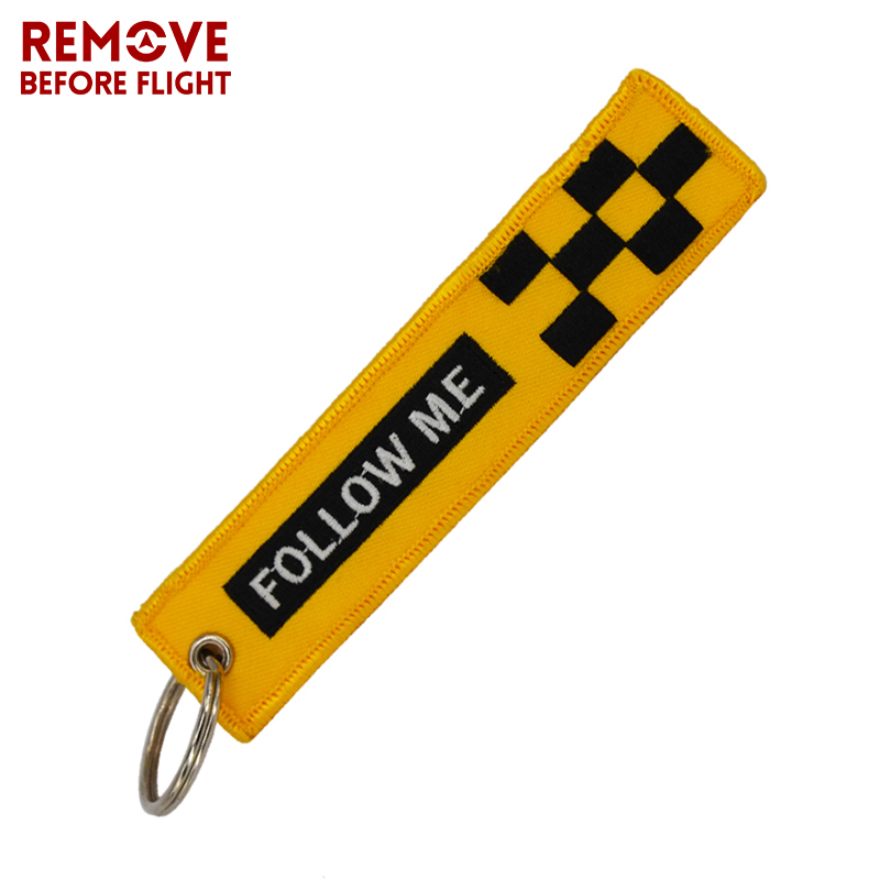 Remove Before Flight Key Chain FOLLOW ME OEM Keychain Jewelry Embroidery Safety Tag Aviation Gifts llavero Fashion Sleutelhanger (2)