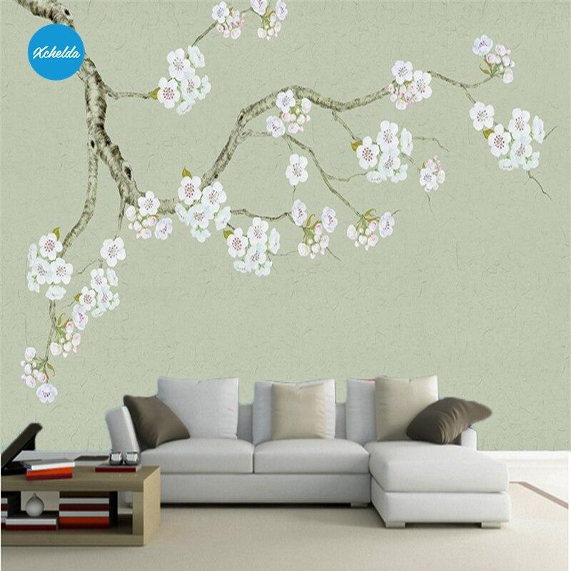 XCHELDA Custom 3D Wallpaper White Peony Light Green Photo Kitchen Bedroom Living Room Wall Murals Papel De Parede